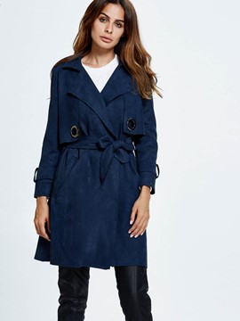 Ericdress Solid Color Slim Lace-Up European Coat