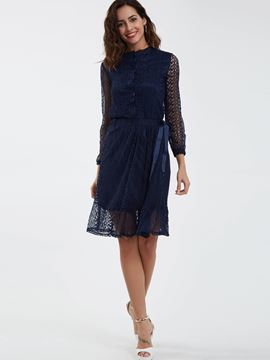 Ericdress Round Neck Single-Breasted Lace Dress