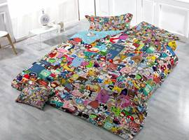 Funny Cartoon Icon Print Satin Drill 4-Piece Duvet Cover Sets