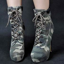 Eicdress Camouflage Platform Lace up Ultra High Boots