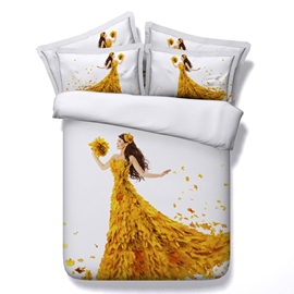 Ericdress Golden Maple Beauty Print 3D Bedding Sets