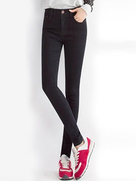 Ericdress Plain Color Thick Skinny Jeans