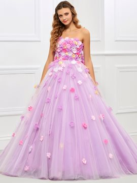 Ericdress Fairy Flower Applique Strapless Bowknot Back Quinceanera Ball Gown