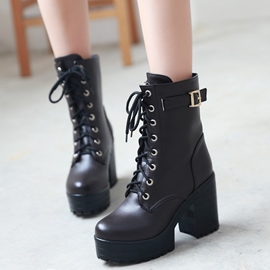 Ericdress PU Platform Lace up Martin Boots