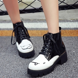 Ericdress Cartoon Print Color Block Ankle Boots