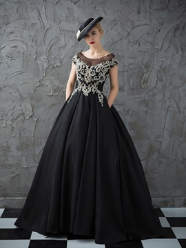 Ericdress Vinatage Cap Sleeves Beading Crystal Ball Quinceanera Dress