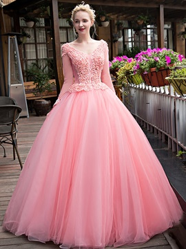 Ericdress Long Sleeves V-Neck Crystal Beaded Ball Gown Quinceanera Dress