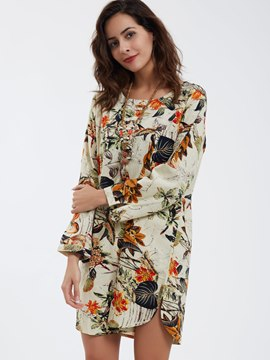 Ericdress Vintage Round Neck Flower Printed Casual Dress