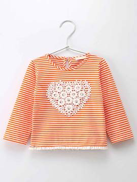 Ericdress Stripe Lace Heart-Shaped Baby Girls T-Shirt
