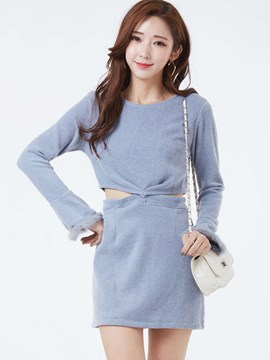 Ericdress Round Neck Flare Sleeves Hollow Bodycon Dress