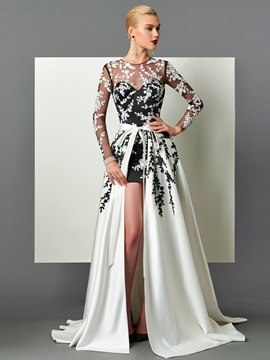 Evening Dress Long Sleeve Applique Detachable Train Long