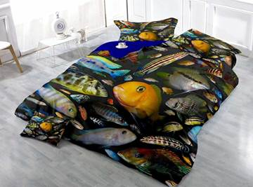 Colorful Fish Print Satin Drill 4-Piece Red Duvet Cover Sets
