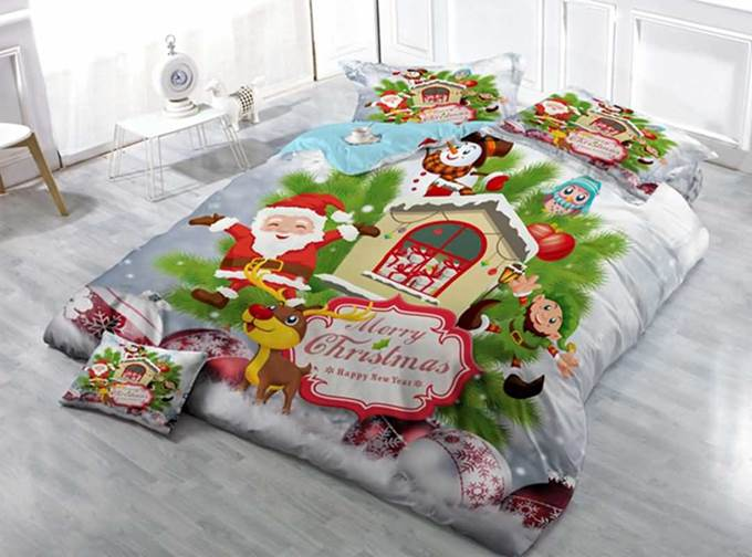 Lovely Christmas Santa Print Satin Drill 4-Piece Duvet Cover Sets