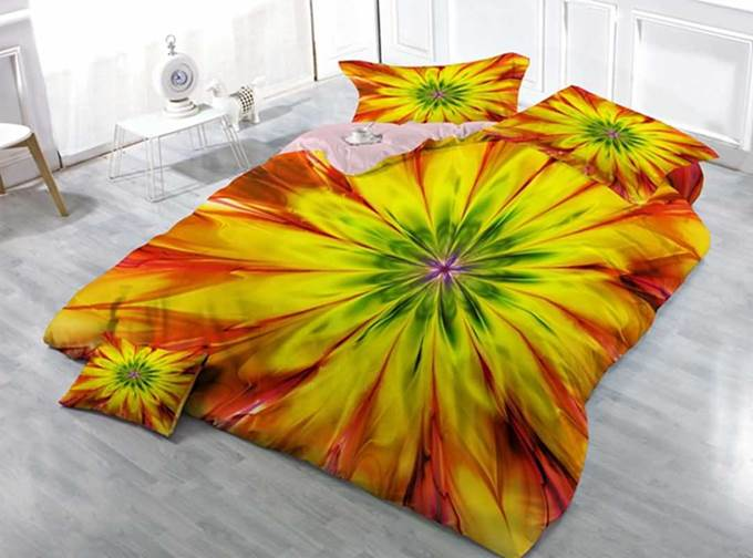 Captivating Abstract Pattern Print Satin Drill 4-Piece Duvet Cover Sets