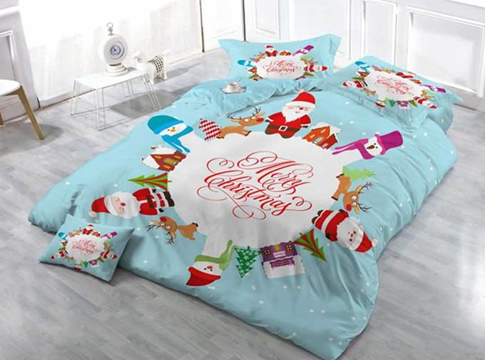 Luxury Holiday Christmas Design Satin Drill 4-Piece Duvet Cover Sets