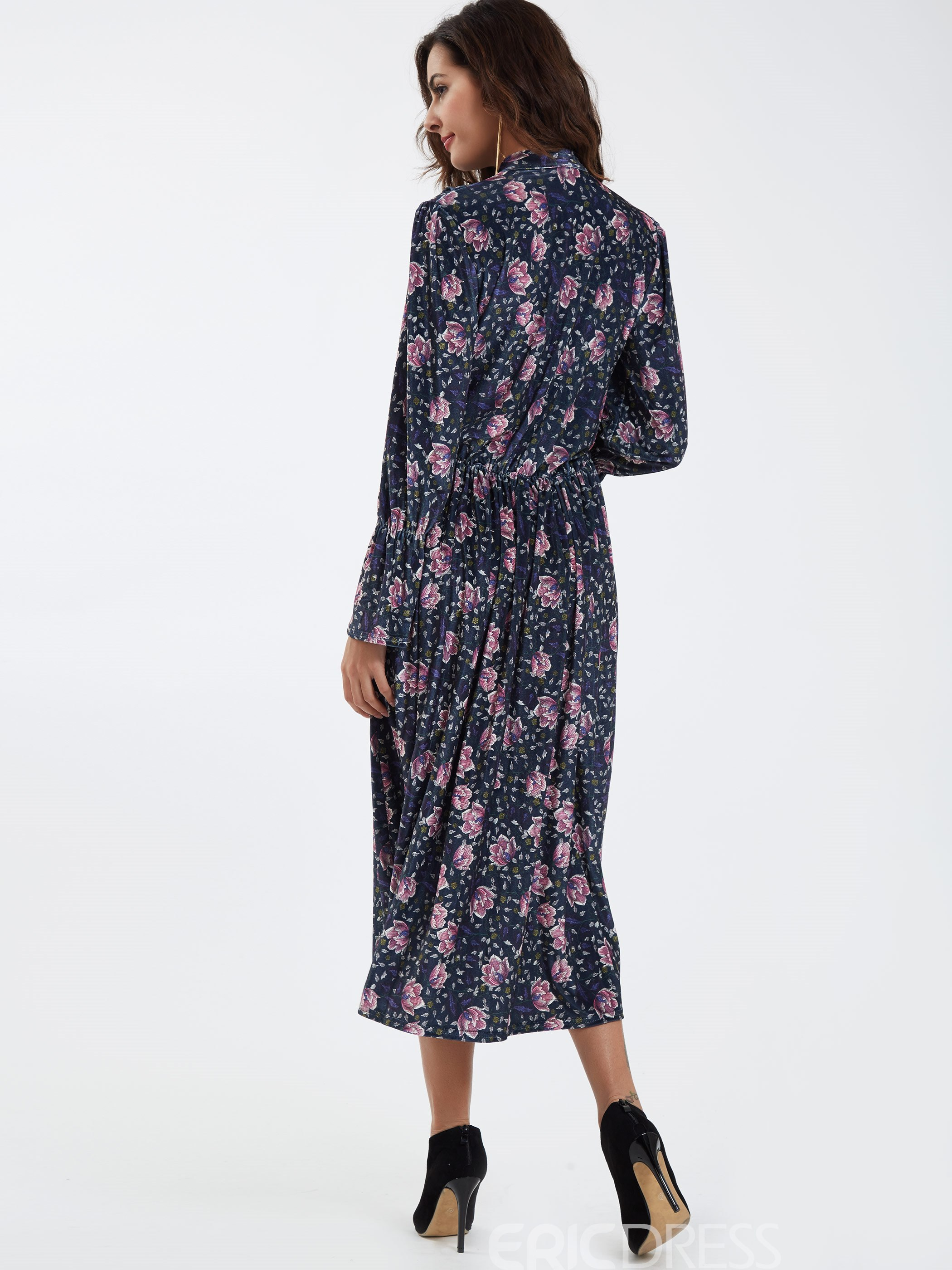 Ericdress Lace-Up Bowknot Flare Sleeve Printed Maxi Dress