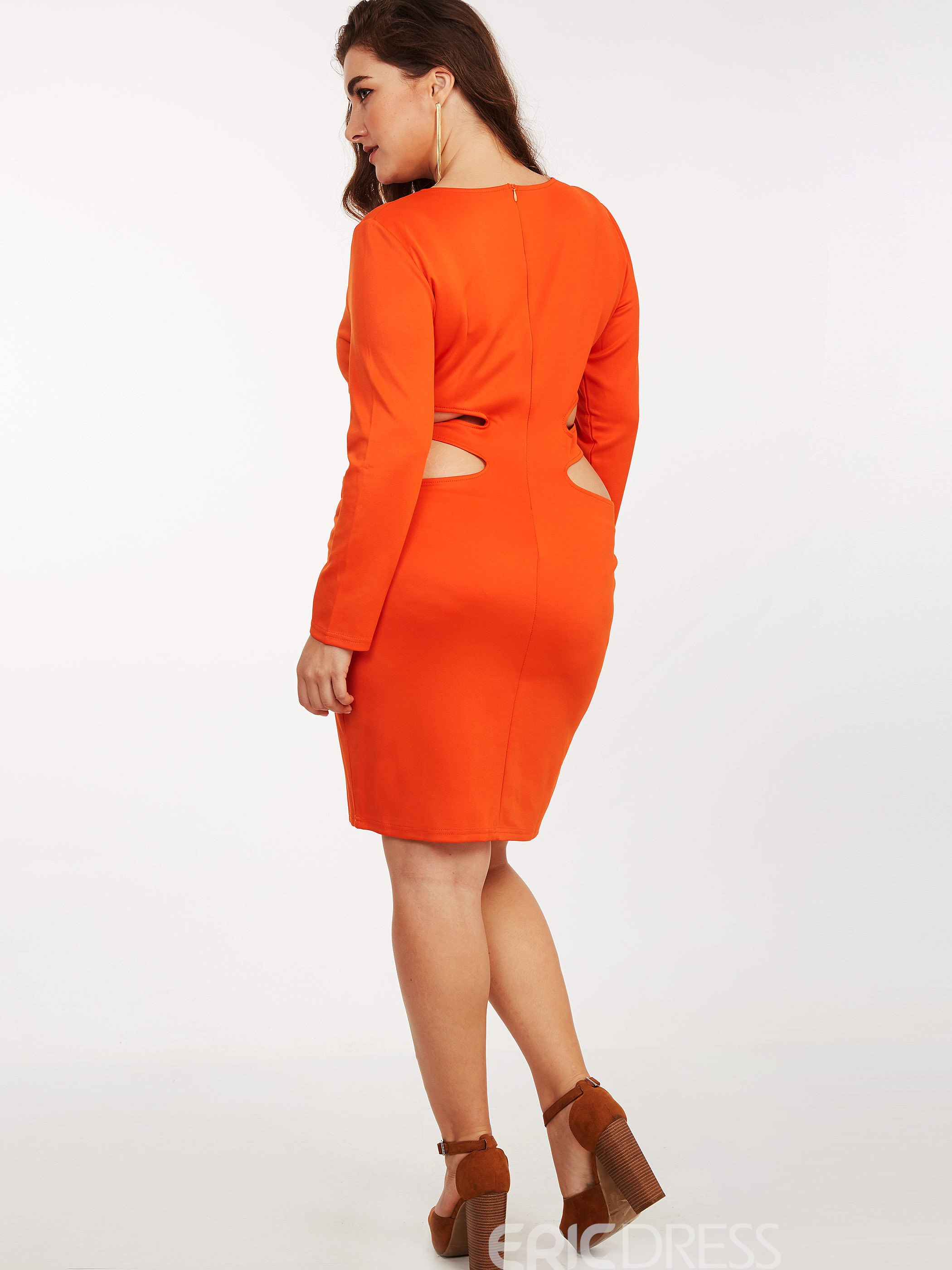 Ericdress Plus-Size Hollow Scoop Bodycon Dress