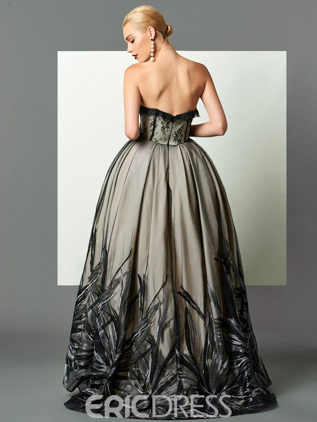 Ericdress Vintage Sweetheart Ball Gown Lace Sequins Asymmetry Evening Dress