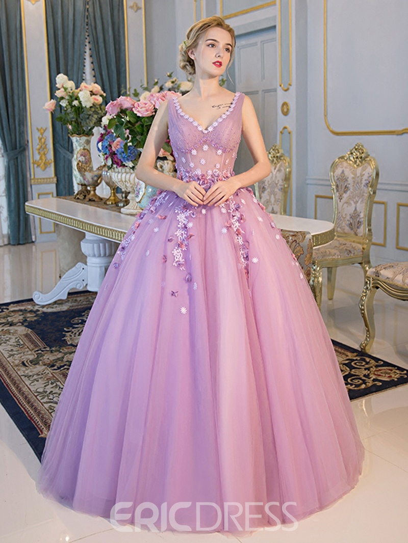 Ericdress V-Neck Beading Pearls Floor-Length Ball Gown Quinceanera Dress