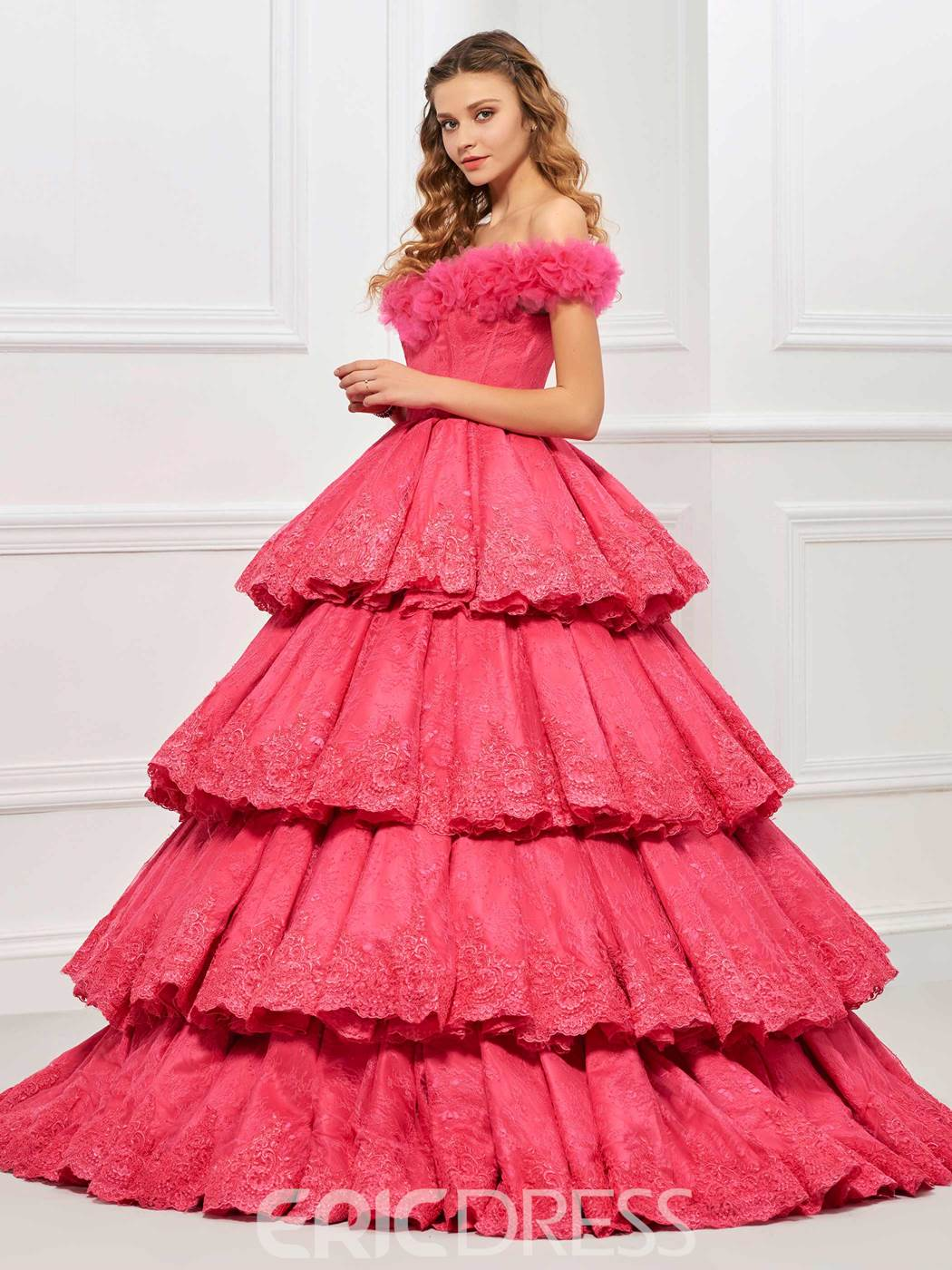 Ericdress Off-the-Shoulder Cap Sleeves Lace Tiered Ball Gown Quinceanera Dress