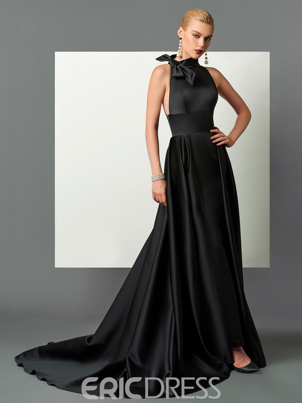 Ericdress Classic Black Halter Satin A Line Long Evening Dress