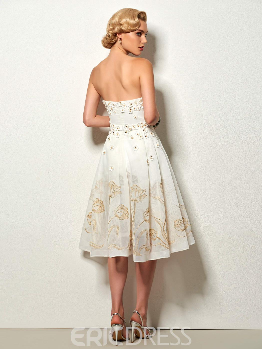 Ericdress Delicate Strapless Short A Line Lace Cocktail Dress