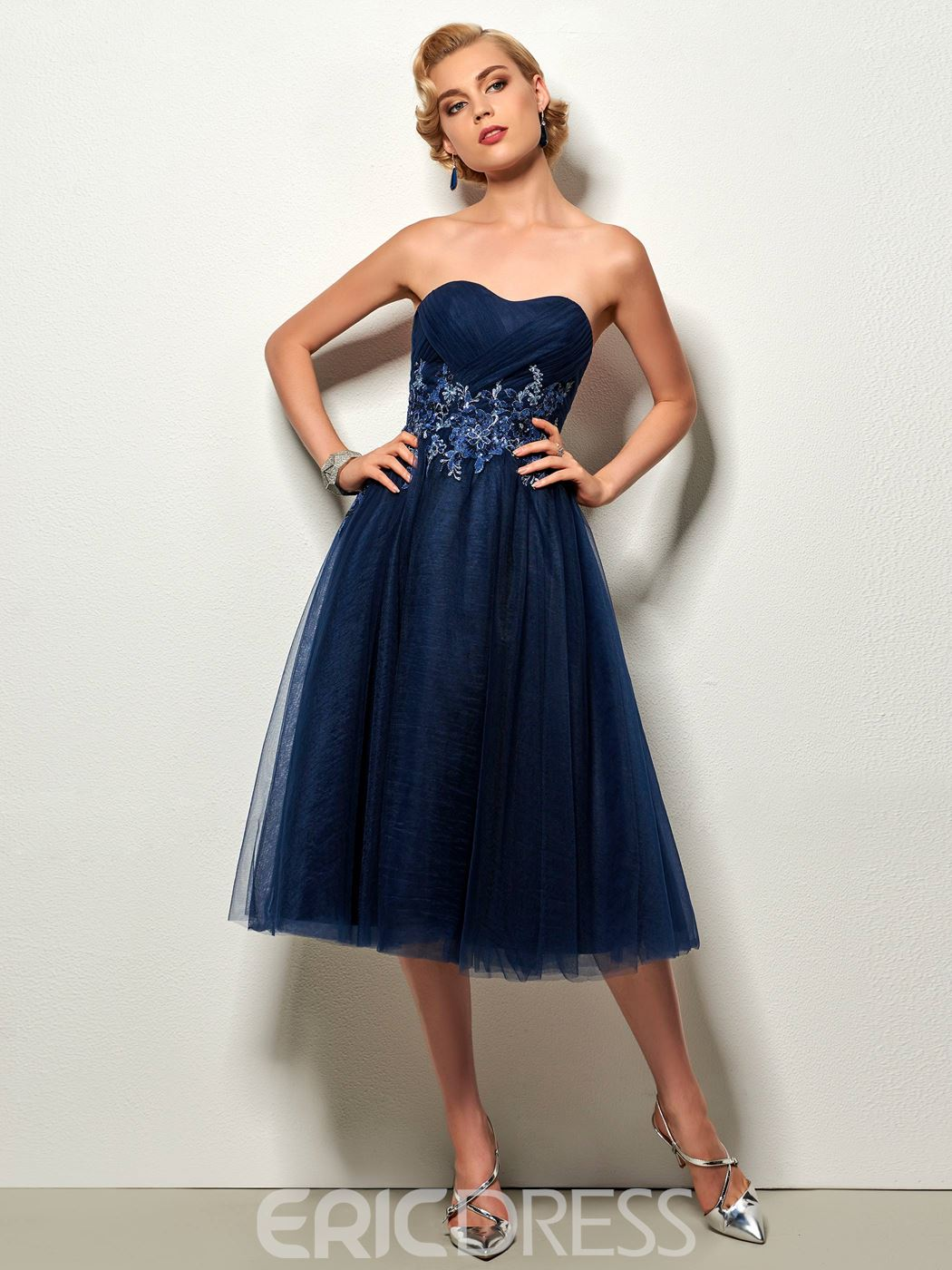 Ericdress A-Line Sweetheart Appliques Ruched Tea-Length Cocktail Dress