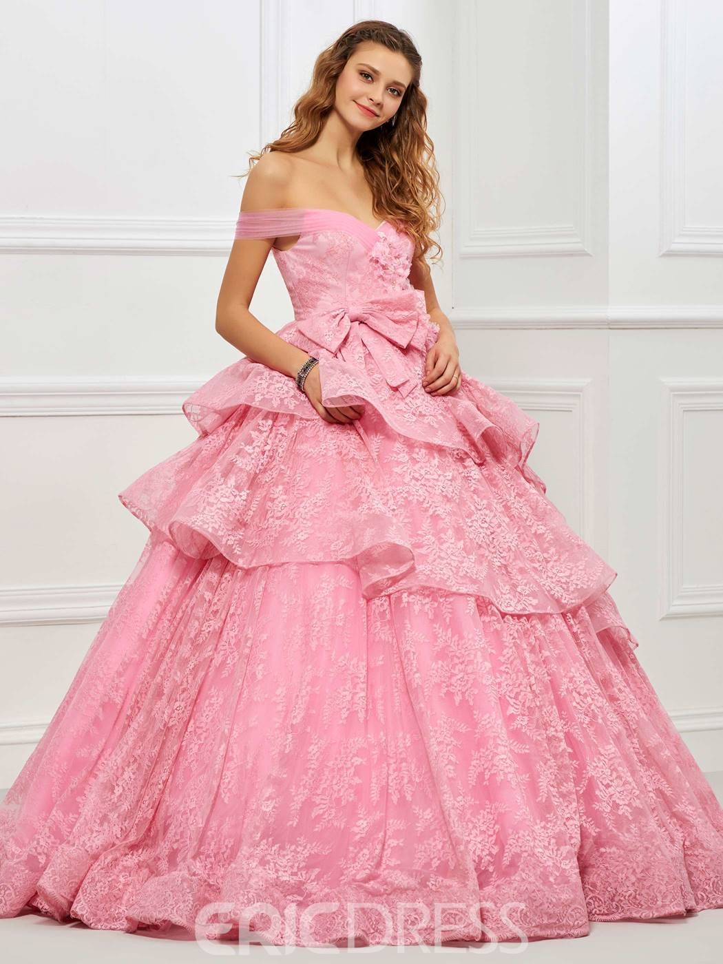 Ericdress Ball Off The Shoulder Dress Layers Lace Quinceanera Dress