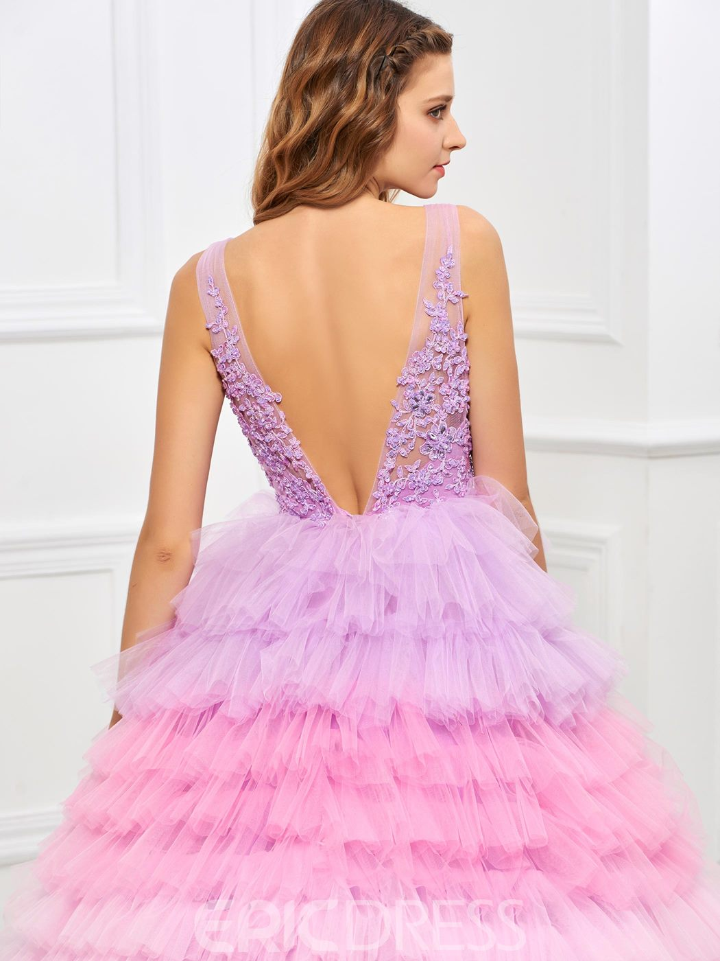 Ericdress Colorful Straps V Neck Applique Layers Ball Quinceanera Dress