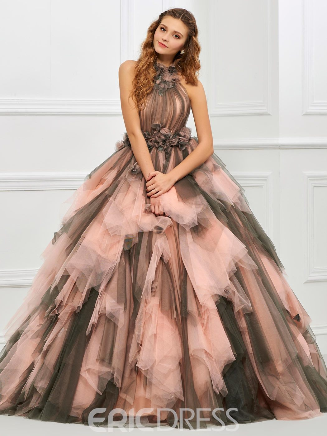 Ericdress Halter Tulle Layers Contrast Color Ball Quinceanera Gown