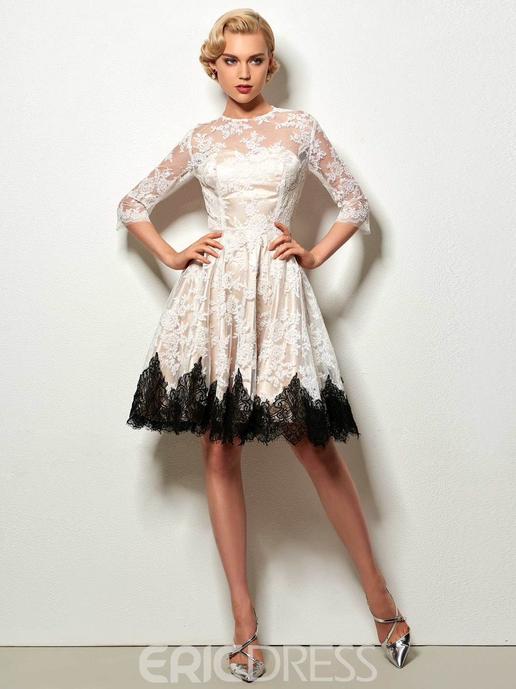 Ericdress A Line Lace Short Cocktail Dress With Half Sleeve 12674466 ...