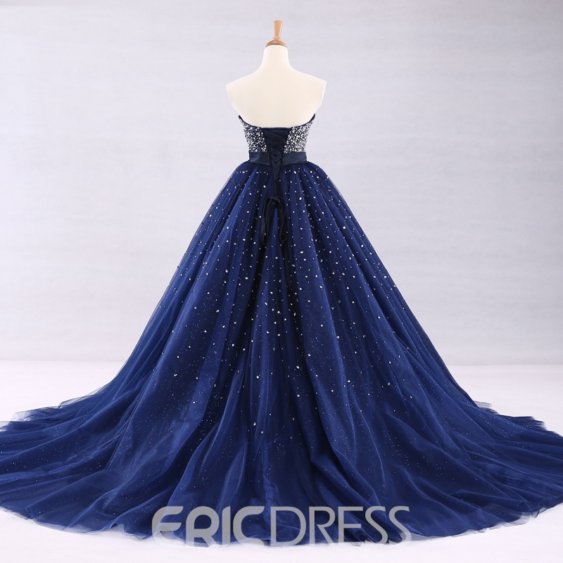 Ericdress Shiny Beaded Lace Up Back Strapless Ball Gown Quinceanera Dress