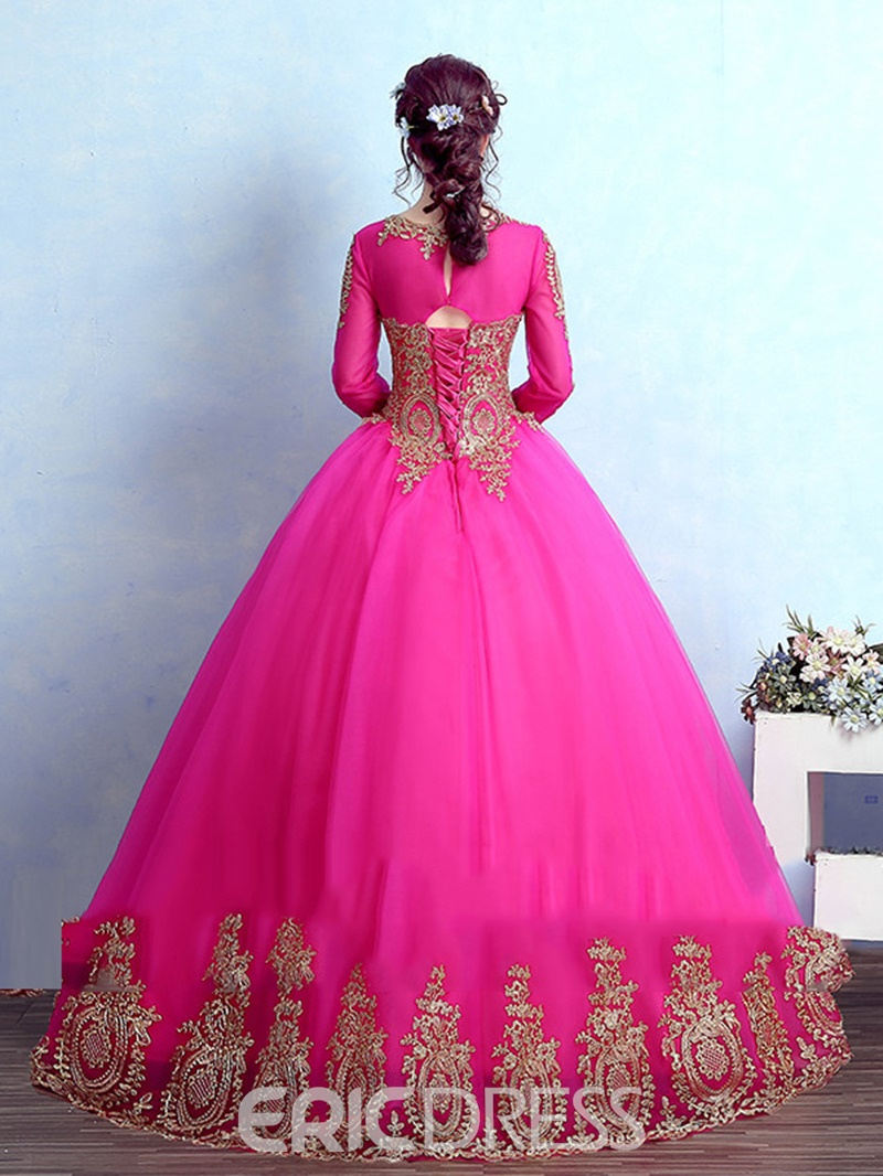 Ericdress Delicate Long Sleeve Applique Lace Floor Length Ball Quinceanera Gown