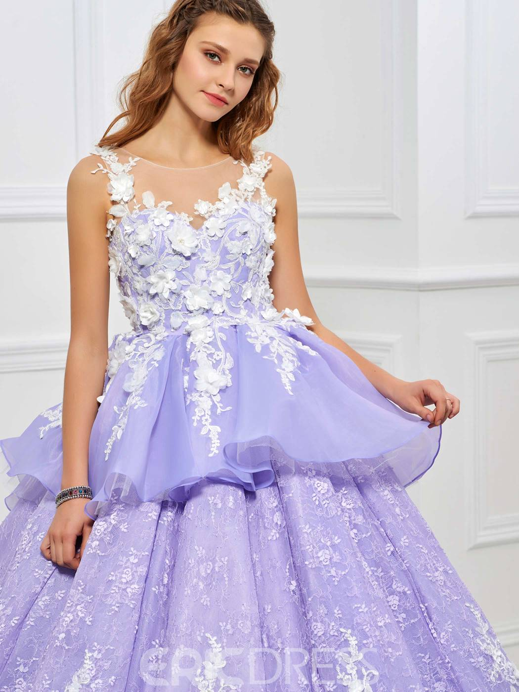 Ericdress Fairy Ball Gown Appliques Lace Ruffles Quinceanera Dress