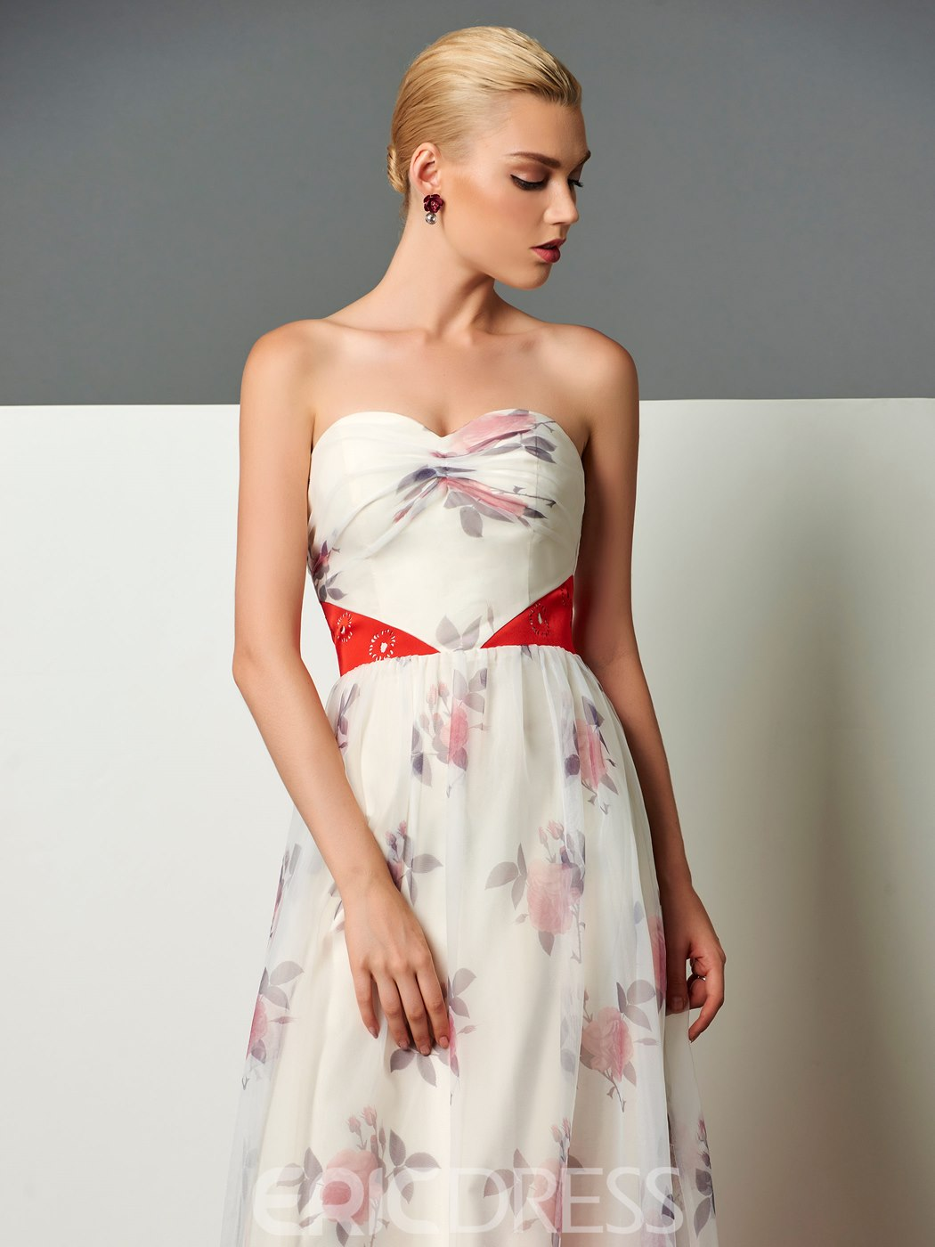 Ericdress A-Line Sweetheart Printed Pleats Floor-Length Evening Dress