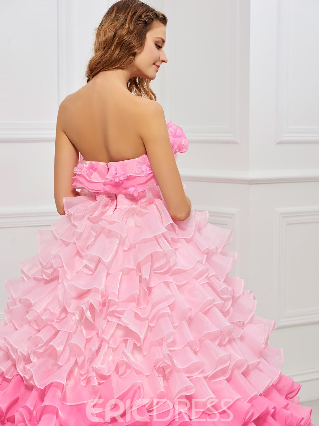 Ericdress Sweet Strapless Flower Ruffles Ball Gown Quinceanera Dress