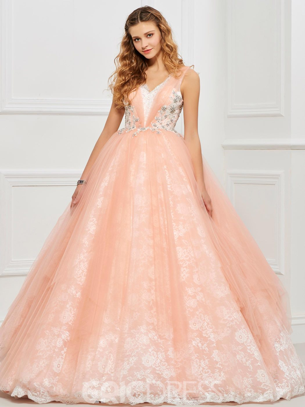 Ericdress Straps V Neck Deep Back Lace Ball Gown Quinceanera Dress