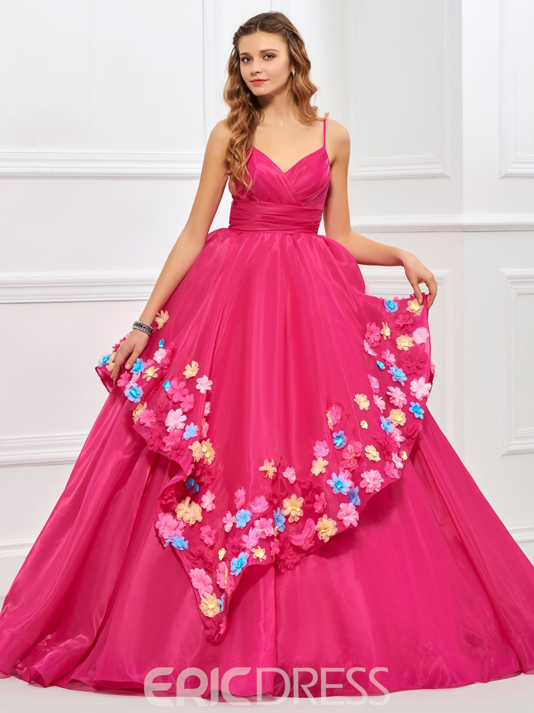 Ericdress Ball Spagehetti Straps Flower Applique Quinceanera Gown