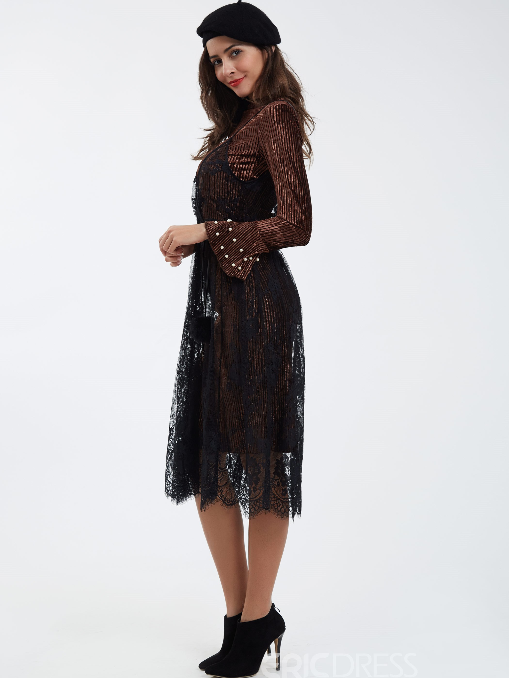 Ericdress Spaghetti Strap Double-Layer Ankle-Length Lace Dress