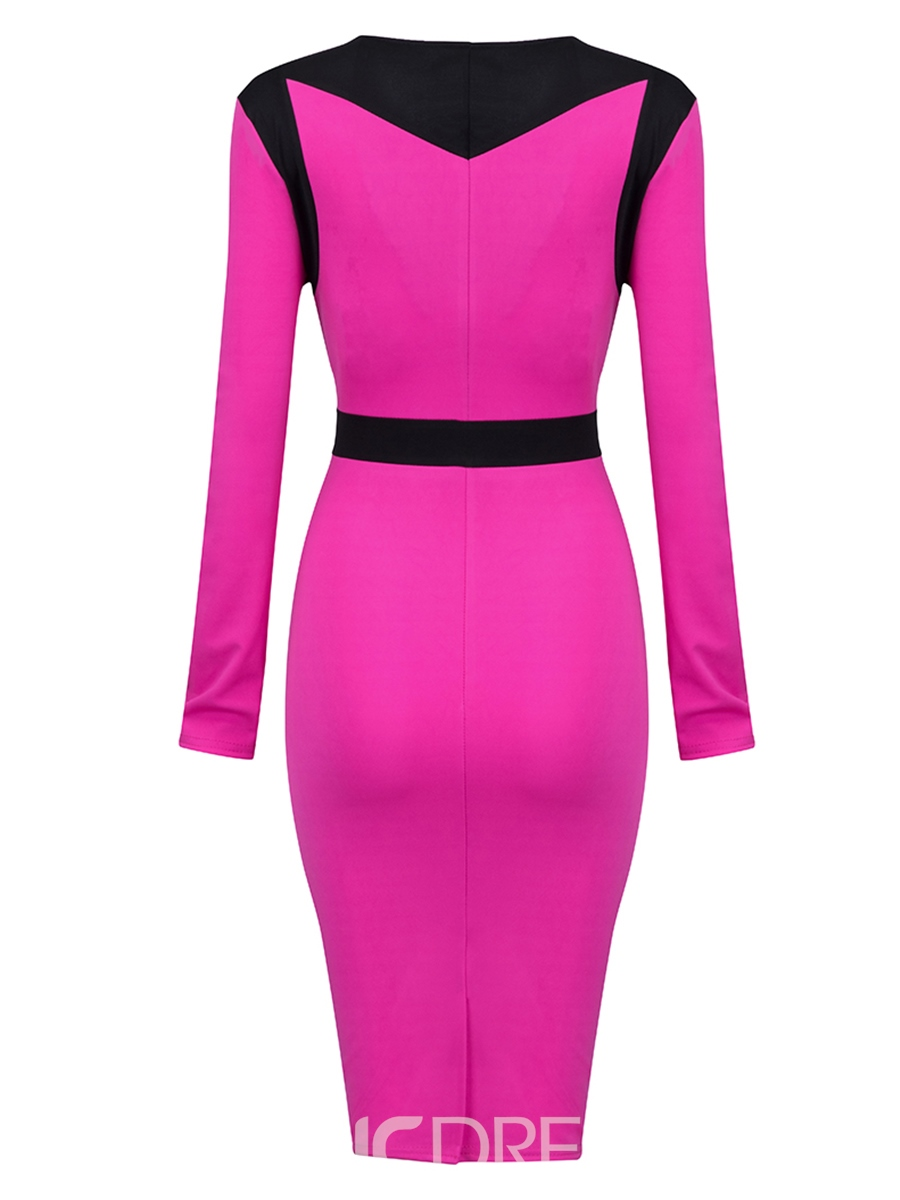 Ericdress Color Block V-Neck Long Sleeves Zipper Bodycon Dress