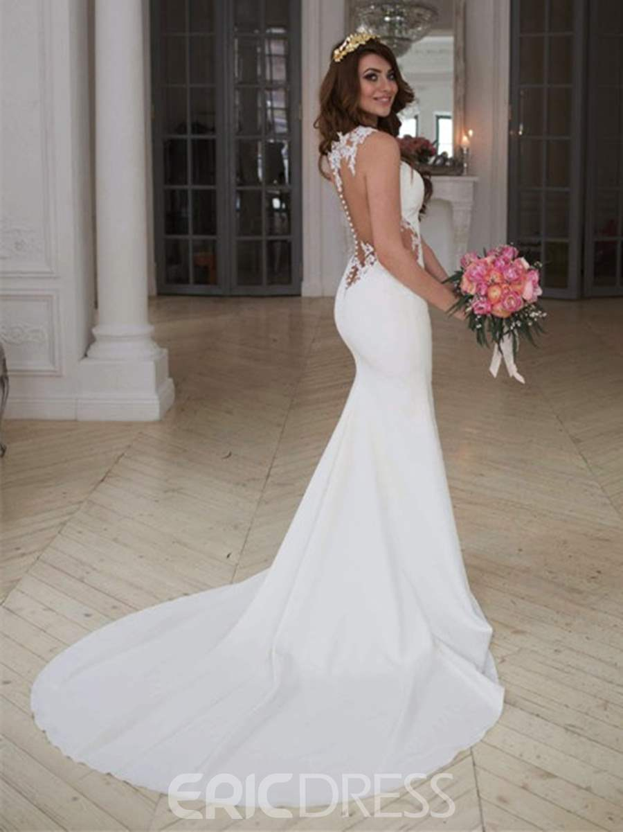 Ericdress Sheer Back Appliques Mermaid Wedding Dress