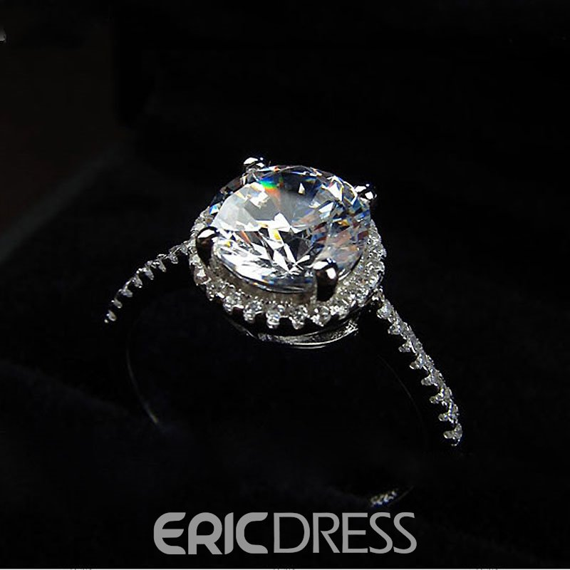 Ericdress S925 Silver Four-Claw 1.25CT Wedding Ring