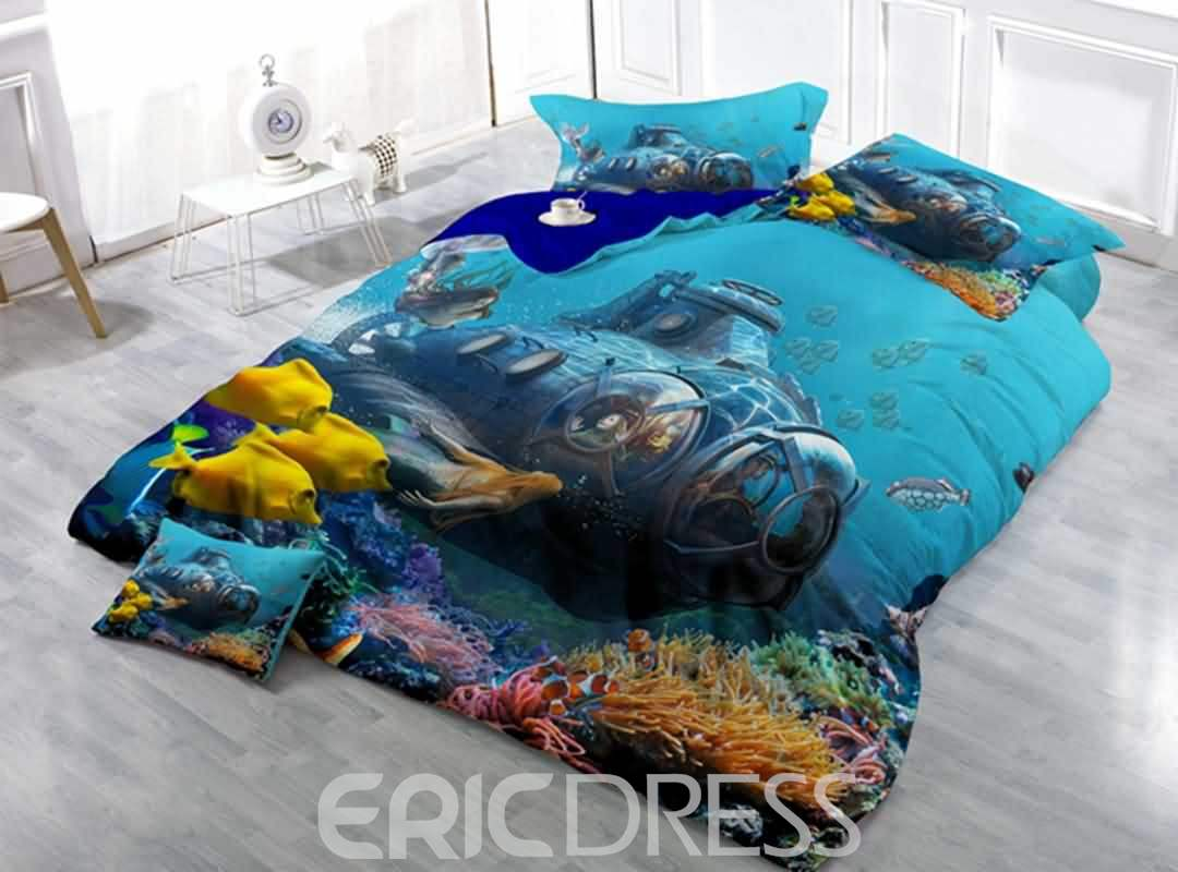 Attractive Submarine Print Satin Drill 4-Piece Duvet Cover Sets