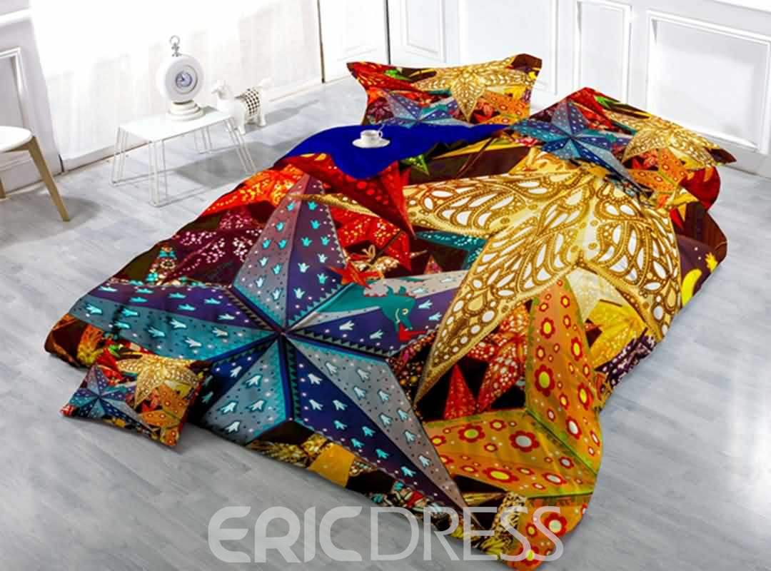Chic Star Decoration Print Satin Drill 4-Piece Duvet Cover Sets