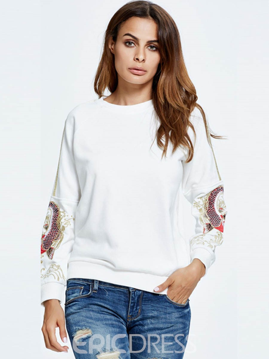 Ericdress Casual Loose Embroidery Hoodie
