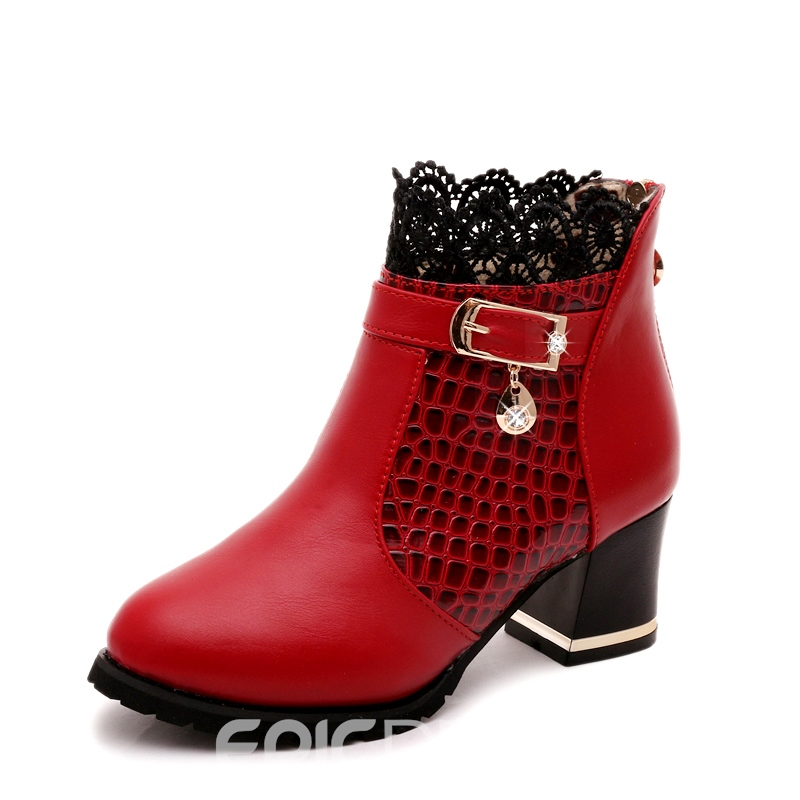 Ericdress Lace Patchwork Chunky Heel Ankle Boots