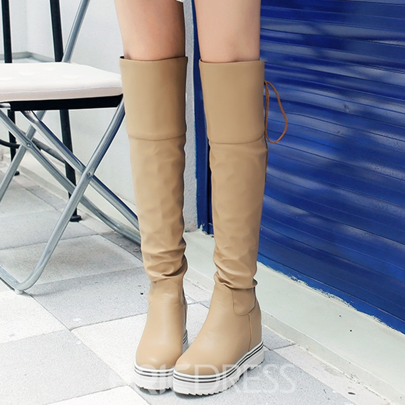 Eicdress Delicate Back Lace up Elevator Heel Thigh High Boots