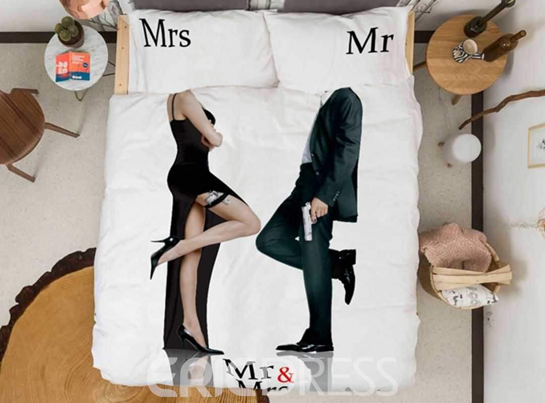 Chic Mr and Mrs Print Satin Drill 4-Piece Duvet Cover Sets