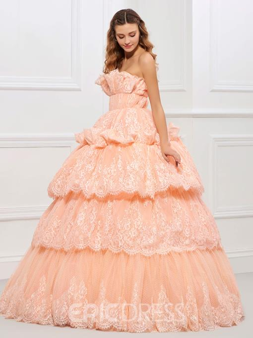 Ericdress Srapless Lace Applique Layers Ball Quinceanera Gown