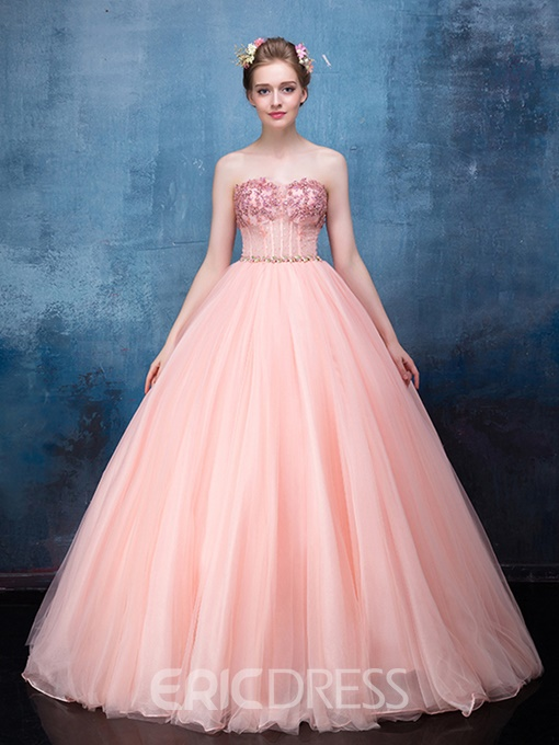 Ericdress Princess Sweetheart Beaded Lace-Up Back Quinceanera Gown